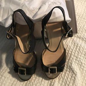 Jimmy choo sandals black leather cork heel 39